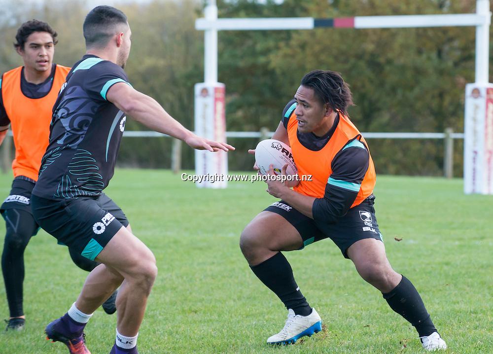 Picture by Allan McKenzie/SWpix.com - 10/11/2016 - Rugby League - 2016 Ladbrokes 4 Nations - New Zealand Kiwis Captains Run - Aspatria Rugby Club, Aspatria, England - Tohu Harris warms up. Copyright Image: SWPix / www.photosport.nz