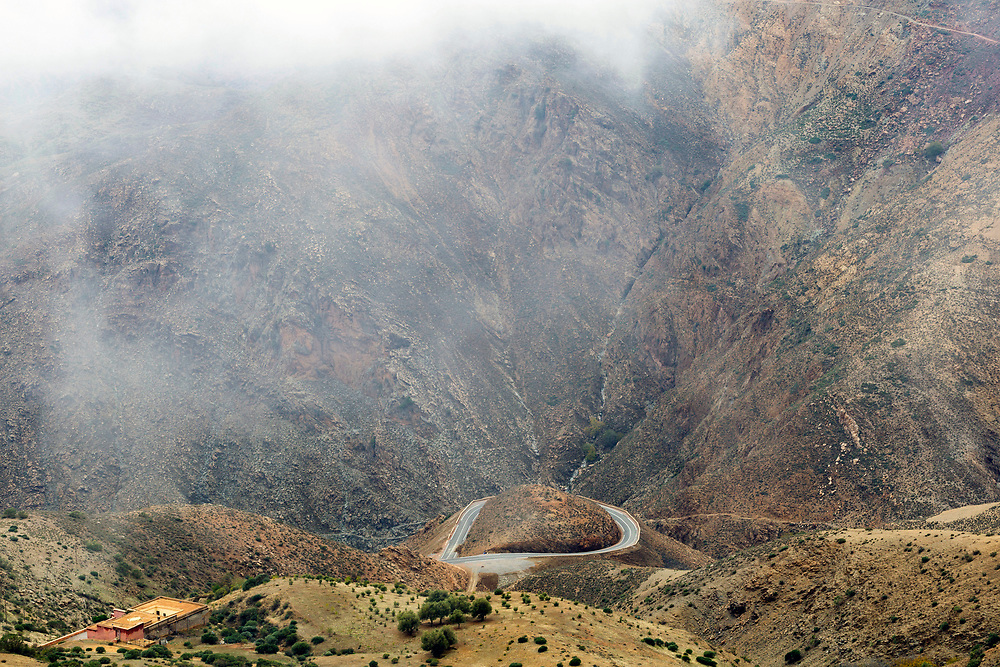 TIZI N' TEST PASS, MOROCCO - 23rd October 2015 - Mountain Road, Taliouine and Taroudant Province, Southern Morocco.