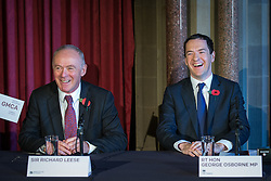 © Licensed to London News Pictures . Manchester , UK . FILE PICTURE DATED 03/11/2014 of Sir Richard Leese and The Chancellor of the Exchequer , George Osborne MP at Manchester Town Hall signing a deal to devolve power to Greater Manchester , including giving the city a Mayor and greater control over its finances . Today (24th February 2015) it has been revealed that , as part of the devolution deal , Greater Manchester will gain control of its entire £6 billion NHS budget - 25% of the government's spending in the region , and all administrative control too . Photo credit : Joel Goodman/LNP