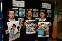 11/11/2015 Repro free:   More than 300 students visited the Marine Institute for Galway Science &amp; Technology Festival and the Sea for Society project. At the event were <br /> pupils from Colaiste na Coirbe Katelin Corcoran, Veronica Simova and Arnita Golacenko. Photo:Andrew Downes, xposure.