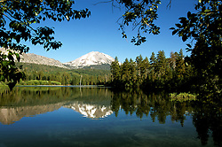 California: Lassen National Park.  Manzanita Lake and Lassen Peak..Photo copyright Lee Foster, 510/549-2202, lee@fostertravel.com, www.fostertravel.com..Photo #: calass101