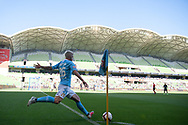MELBOURNE, VICTORIA - JANUARY 06: Melbourne City midfielder Luke Brattan (26) goes for a corner kick at the Hyundai A-League Round 11 soccer match between Melbourne City FC and Newcastle Jets on at AAMI Park in NSW, Australia 06 January 2019. (Photo by Speed Media/Icon Sportswire)
