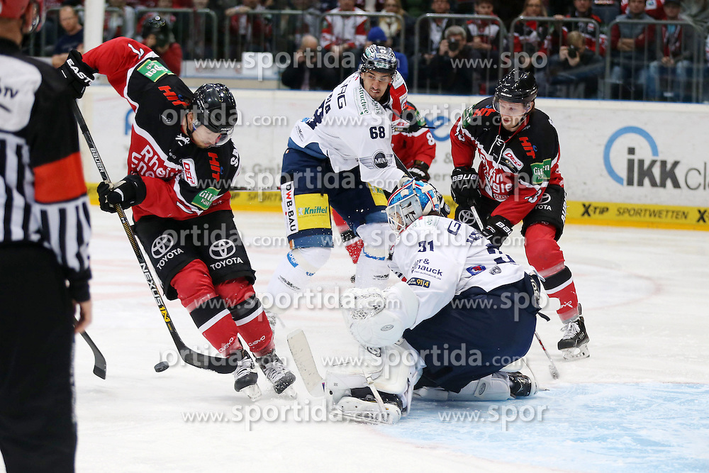 22.03.2016, Lanxess Arena, Koeln, GER, DEL, Koelner Haie vs Eisbaeren Berlin, Viertelfinale, 4. Spiel, im Bild Milan Jurcina (Berlin), Petri Vehanen (Torwart, Torhurter, Keeper, Goali, Berlin) // during the German DEL Icehockey League 4th quaterfinal match between Koelner Haie and Eisbaeren Berlin at the Lanxess Arena in Koeln, Germany on 2016/03/22. EXPA Pictures &copy; 2016, PhotoCredit: EXPA/ Eibner-Pressefoto/ Horn<br /> <br /> *****ATTENTION - OUT of GER*****