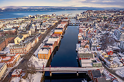 THEMENBILD - Uebersicht der Stadt mit den Kanalhafen, aufgenommen am 14. Maerz 2019 in Trondheim, Norwegen // Overview of the city with the canal port, Trondheim, Norway on 2018/03/14. EXPA Pictures © 2019, PhotoCredit: EXPA/ JFK