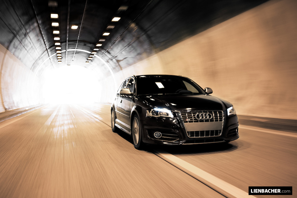 A black 2009 Audi S3 Sportback shot driving in an austrian autobahn-tunnel. Photo: Wolfgang Lienbacher