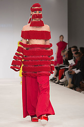 © Licensed to London News Pictures. 30/05/2015. London, UK. A model walks the runway during the Birmingham City University fashion show at Graduate Fashion Week 2015 wearing the collection of graduate student Berta Kenulyte. Graduate Fashion Week takes place from 30 May to 2 June 2015 at the Old Truman Brewery, Brick Lane. Photo credit : Bettina Strenske/LNP