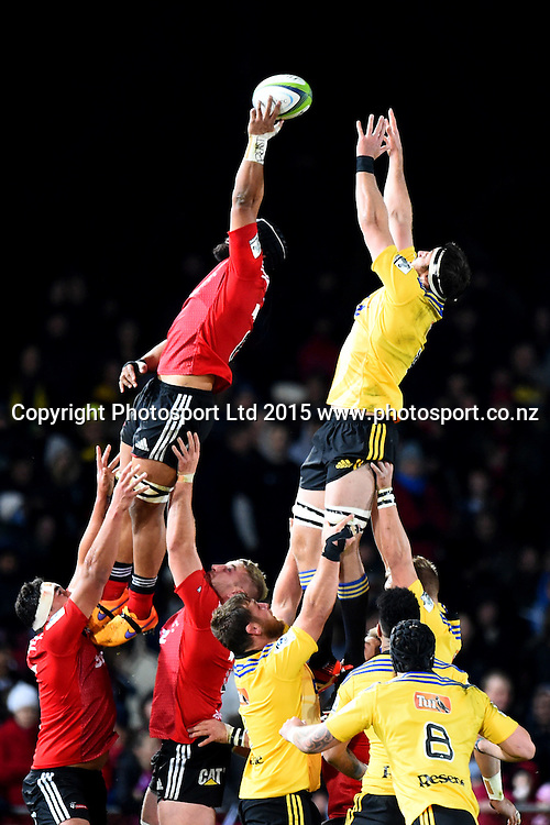 Crusaders player Jordan Taufua takes a lineout ahead of Hurricanes player Jeremy thrush during their Investec Super Rugby game Crusaders v Hurricanes. Trafalgar Park, Nelson, New Zealand. Friday 29 May 2015. Copyright Photo: Chris Symes / www.photosport.co.nz
