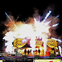 Fireworks ignite for driver introductions prior to the NASCAR Sprint Unlimited Race at Daytona International Speedway on Saturday, February 16, 2013 in Daytona Beach, Florida.  (AP Photo/Alex Menendez)