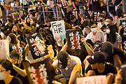 CHINA, Hong Kong: 16 August 2019 <br /> Thousands of protesters descend on to Chater Park this evening as demonstrators watch video messages of support from international supporters as well as live speakers. Demonstrators urged The UK this evening to declare that China has breached the 1984 Sino-British Joint Declaration, a binding international treaty.<br /> Rick Findler / Story Picture Agency