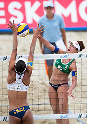 30.07.2014, Strandbad, Klagenfurt, AUT, FIVT, A1 Beachvolleyball Grand Slam 2014, Hauptrunde, im Bild Liliane Maestrini (BRA) gegen Lisa Chukwuma (AUT) // during Main Draw Match of the A1 Beachvolleyball Grand Slam at the Strandbad Klagenfurt, Austria on 2014/07/30. EXPA Pictures © 2014, EXPA Pictures © 2014, PhotoCredit: EXPA/ Johann Groder