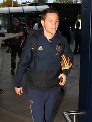 Ander Herrera is spotted on his way to catch a flight as the team fly to Turin on Tuesday afternoon to play Juventus in The Champions League on Wednesday night.