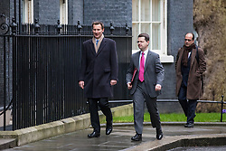 © Licensed to London News Pictures. 08/03/2017. London, UK. Health Secretary Jeremy Hunt (L) and Secretary of State for Wales Alun Cairns (C) arrive on Downing Street for Cabinet. The government will unveil the budget today. Photo credit: Rob Pinney/LNP