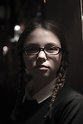 Wednesday Addams look alike from the Addams Family film model released