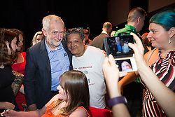 © Licensed to London News Pictures . 23/07/2016 . Salford , UK . Supporters posing for selfies with Jeremy Corbyn as he launches his campaign to be re-elected Labour Party leader , at the Lowry Theatre at Salford Quays . Photo credit : Joel Goodman/LNP