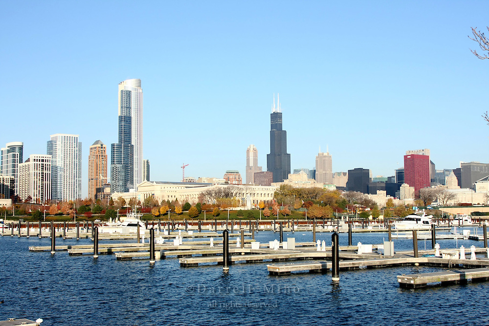 Nov. 08, 2008; Chicago, IL - Downtown Chicago.  One Museum Park (L) and Sears Tower (R) and Burnham Harbor in the foreground...Photo credit: Darrell Miho