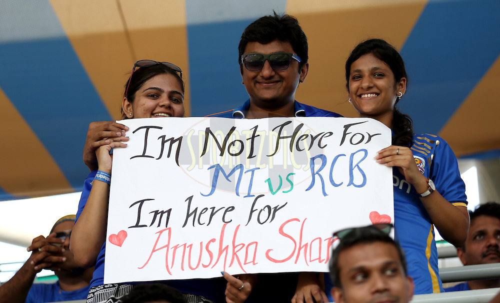 Fan's Enjoy's during match 46 of the Pepsi IPL 2015 (Indian Premier League) between The Mumbai Indians and The Royal Challengers Bangalore held at the Wankhede Stadium in Mumbai, India on the 10th May 2015.<br /> <br /> Photo by:  Sandeep Shetty / SPORTZPICS / IPL