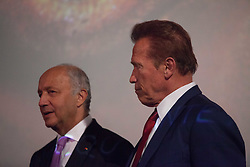 June 23, 2017 - Paris, France - Arnold Szwarzenegger and Laurent Fabius, presenting the documentary film ''Wonders of the sea'', produced by Arnold Schwarzenegger and Francois Montello, directed by Jean-Michel Cousteau and Jean-Jacques Montello, with the support of R20, Di Caprio Fondation and Green Cross, Paris, France (Credit Image: © Ania Freindorf via ZUMA Wire)