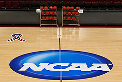 March 18, 2011; Stanford, CA, USA; General view of the NCAA logo the day before the first round of the 2011 NCAA women's basketball tournament at Maples Pavilion.