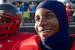 Panthers running back Tyliek Raynor, who scored two touchdowns on Sauturday, smiles near the end of a 49-0 playoff rout.