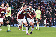 Burnley Defender, Stephen Ward (23) goal scorer and Burnley Midfielder, George Boyd (21) goal scorer celebrate 2-0 during the Premier League match between Burnley and Bournemouth at Turf Moor, Burnley, England on 10 December 2016. Photo by Mark Pollitt.