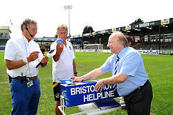 Bristol Rovers Manger, John Ward draws out a ball for the Bristol Rovers' Helpline lotto - Photo mandatory by-line: Dougie Allward/JMP - Tel: Mobile: 07966 386802 21/07/2013 - SPORT - FOOTBALL - Bristol -  Bristol Rovers Fun Day