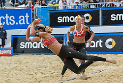 29.07.2015, Strandbad, Klagenfurt, AUT, A1 Beachvolleyball EM 2015, im Bild Barbara Hansel 1 AUT / Stefanie Schwaiger 2 AUT // during of the A1 Beachvolleyball European Championship at the Strandbad Klagenfurt, Austria on 2015/07/29. EXPA Pictures © 2015, EXPA Pictures © 2015, PhotoCredit: EXPA/ Mag. Gert Steinthaler