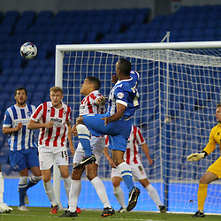 Brighton & Hove Albion's Chris O'Grady wins the ball during the English Capital One Cup 1st Round between Brighton & Hove Albion FC and Cheltenham Town FC at the American Express Community Stadium, Brighton, 12th August 2014 © Phil Duncan | SportPix.org.uk