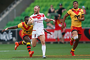 Josh Hodgson of England gets chased down during the Rugby League World Cup Quarter-Final match between England and  Papua New Guinea at Melbourne Rectangular Stadium, Melbourne, Australia on 19 November 2017. Photo by Mark  Witte.