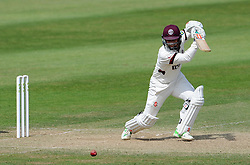 Somerset's Johann Myburgh drives the ball. - Photo mandatory by-line: Harry Trump/JMP - Mobile: 07966 386802 - 16/06/15 - SPORT - CRICKET - LVCC County Championship - Division One - Day Three - Somerset v Nottinghamshire - The County Ground, Taunton, England.