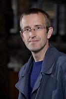 A portrait of Robert Macfarlane at the Edinburgh International Book Festival 2012 in Charlotte Square Gardens<br /> <br /> Pic by Pako Mera