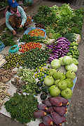 Plethora of fresh vegetables and fruit for sale at market, Luang Prabang, Laos