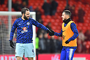 Gonzalo Higuain (9) of Chelsea shakes hands with Eden Hazard (10) of Chelsea during the warm up before the Premier League match between Bournemouth and Chelsea at the Vitality Stadium, Bournemouth, England on 30 January 2019.