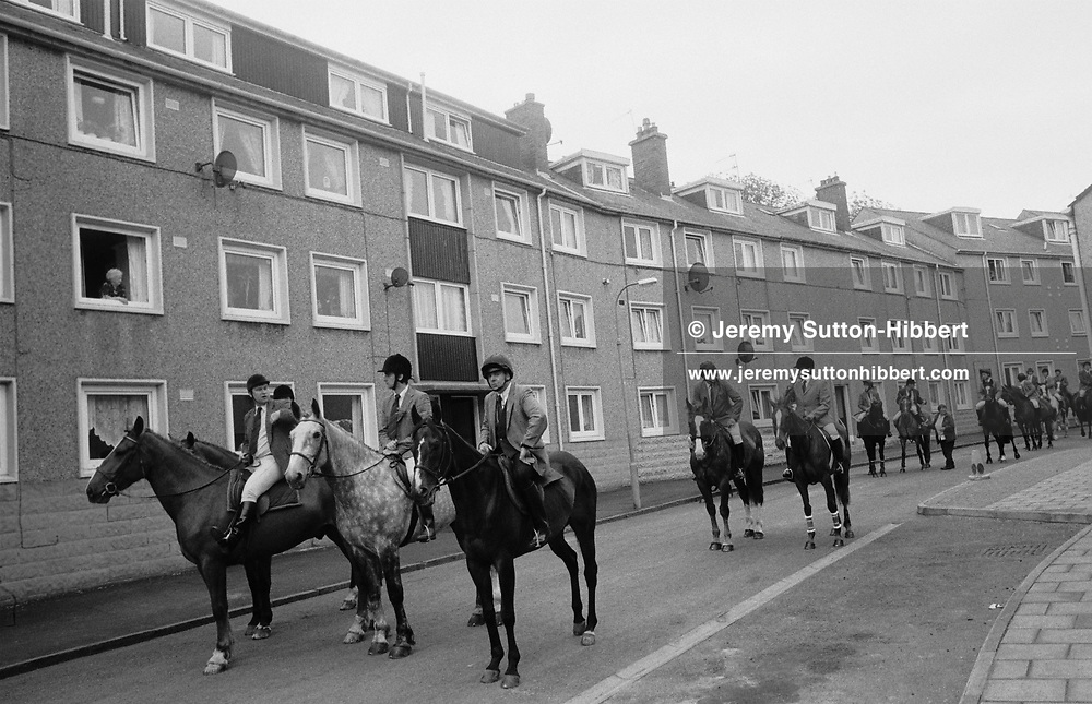 "Horsemen waiting for the ""ride-out"" of horses to begin during the 'male only' Hawick Common Riding week. The 'ride-out' takes the riders to the town boundaries, and re-enforces those boundries.  Scotland..PIC©JEREMY SUTTON-HIBBERT 2000.."