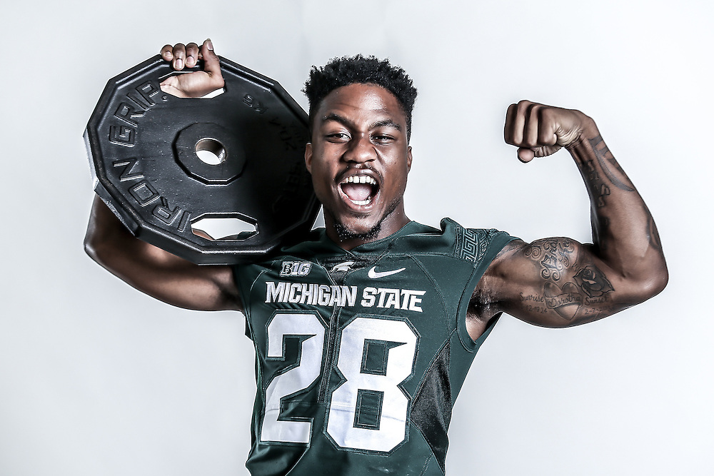 Promotional Portrait of Michigan State University Football, for ESPN.<br />