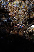 Heath Christensen on Pig Iron 5.12c, Shoshone Ice Caves, Idaho