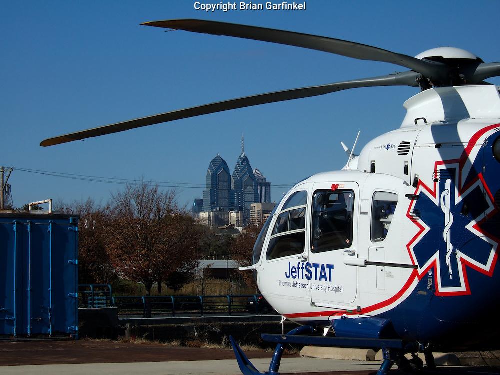 """Philadelphia, Pennsylvania - Thomas Jefferson University Helicopter """"JeffStat"""" at the heliport on Penns landing in Philadelphia"""
