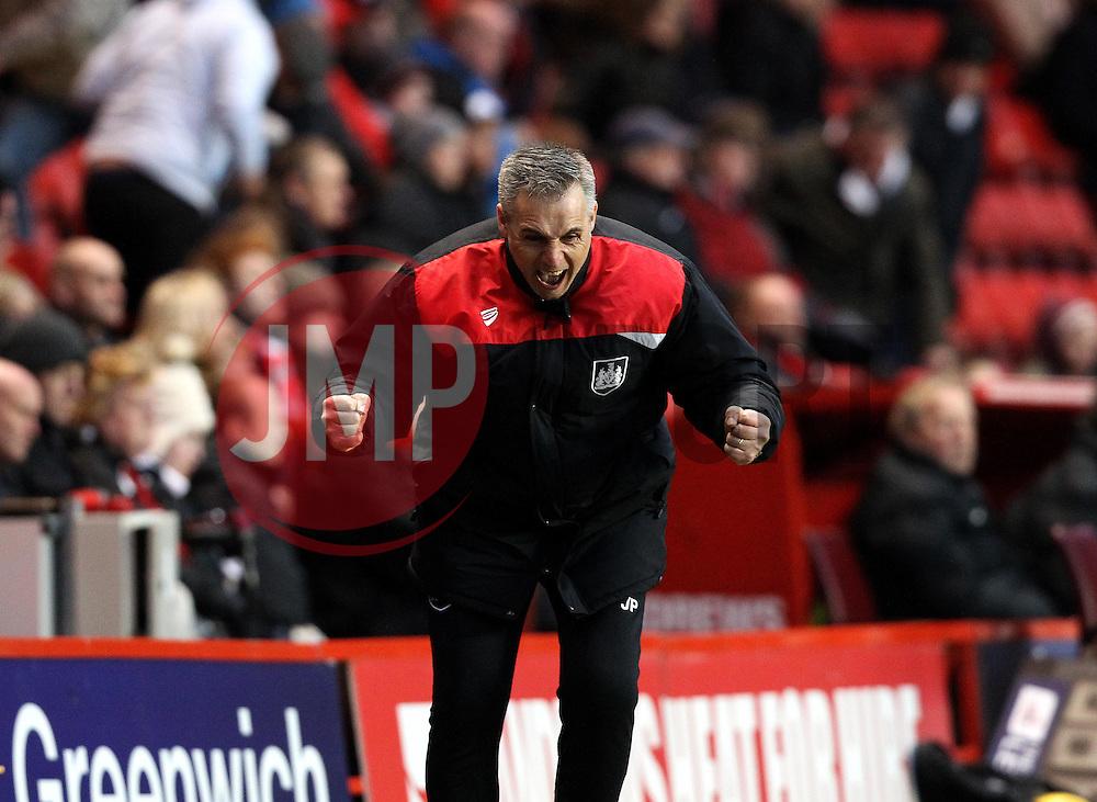 Bristol City Caretaker Manager John Pemberton celebrates the victory over Charlton Athletic - Mandatory byline: Robbie Stephenson/JMP - 06/02/2016 - FOOTBALL - The Valley - Charlton, England - Charlton Athletic v Bristol City - Sky Bet Championship