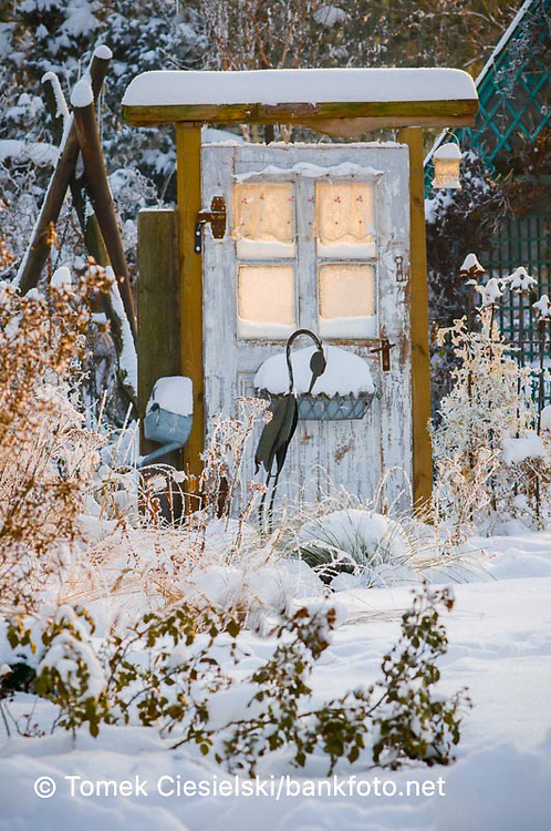 Winter view for door to the garden