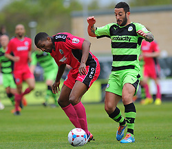 Forest Green Rovers's Stuart Fleetwood battles for the ball against Dover Athletic's Tyrone Sterling .  - Photo mandatory by-line: Nizaam Jones - Mobile: 07966 386802 - 25/04/2015 - SPORT - Football - Nailsworth - The New Lawn - Forest Green Rovers v Dover - Vanarama Conference League