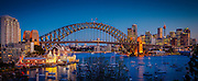 Sydney Harbour Bridge, Luna Park, Opera House and Sydney CBD looking across Lavender Bay, Australia