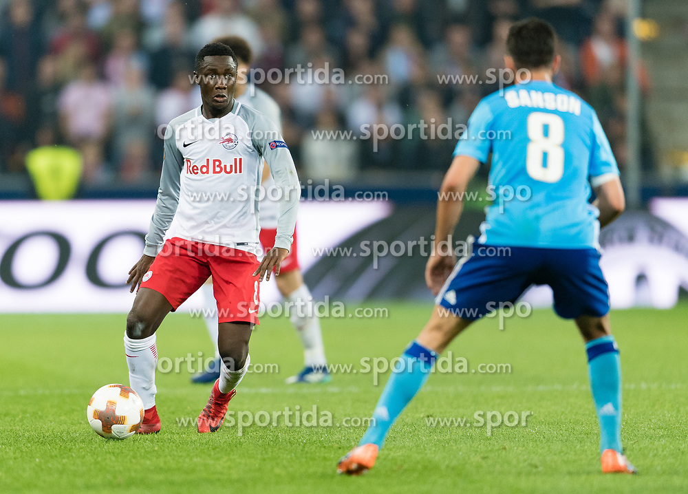 03.05.2018, Red Bull Arena, Salzburg, AUT, UEFA EL, FC Salzburg vs Olympique Marseille, Halbfinale, Rueckspiel, im Bild Diadie Samassekou (FC Salzburg) // during the UEFA Europa League Semifinal, 2nd Leg Match between FC Salzburg and Olympique Marseille at the Red Bull Arena in Salzburg, Austria on 2018/05/03. EXPA Pictures © 2018, PhotoCredit: EXPA/ Stefan Adelsberger