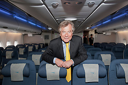04/07/2013 . London, UK.  Sir Martin Broughton, Chairman of British Airways on board  the new British Airways Boeing A380 superjumbo which arrived at Heathrow Airport on July 4, 2013. It was the first time British Airlines have taken delivery of the new plane, making British Airways the first European airline to operate both the 787 and A380. Photo credit : Ben Cawthra/