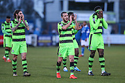 The FGR players applaud the travelling fans during the FA Trophy match between Macclesfield Town and Forest Green Rovers at Moss Rose, Macclesfield, United Kingdom on 4 February 2017. Photo by Shane Healey.