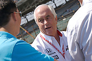 Indy Car series team owner Roger Penske seen talking in the pits during qualifications for the Indy 500 on May 12, 2007.
