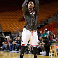 29 January 2012: Chicago Bulls Derrick Rose warms up prior to the Miami Heat game against the Chicago Bulls at the AmericanAirlines Arena, Miami, Florida, USA.