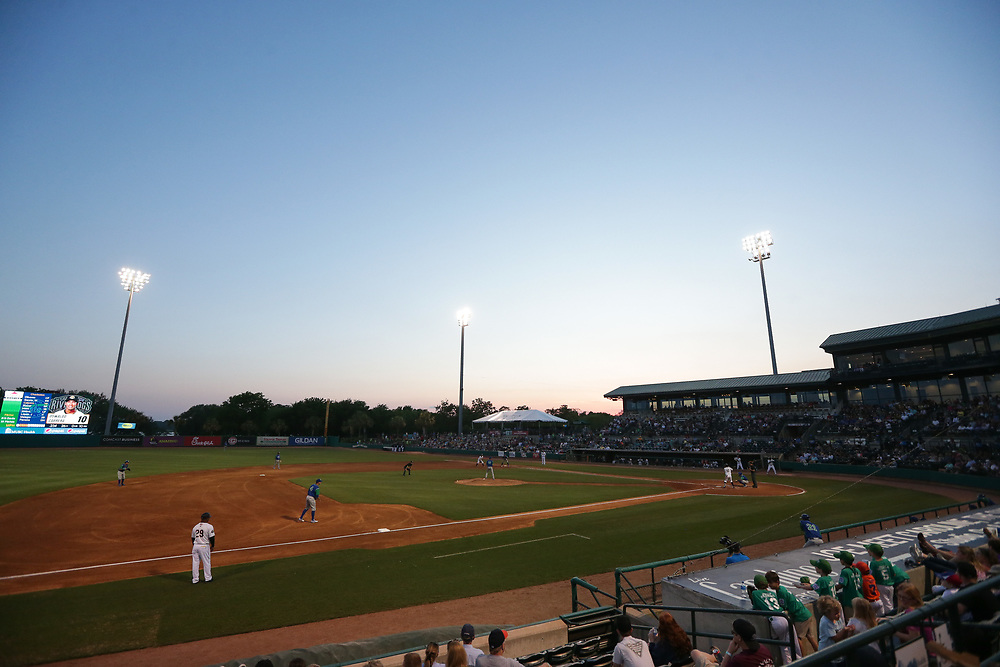 Stadium. <br /> Lexington Legends vs. Charleston RiverDogs at Joseph P. Riley Ballpark in Charleston, S.C. on Monday, May 7, 2018. Charleston wins, 3-2, on a walk-off single. <br /> Zach Bland/Charleston RiverDogs