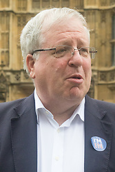 "Westminster, London, June 23rd 2016. Transport Secretary Patrick McLoughlin sporting an ""I'M IN"" sticker is spotted outside Parliament."