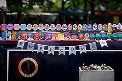 © Licensed to London News Pictures.30/04/2017.London, UK. A welcome sign hung underneath beer mats on the side of a narrowboat, as the Canalway Cavalcade festival takes place in Little Venice, London on Saturday, 30 April 2017. Inland Waterways Association's annual gathering of canal boats brings around 130 decorated boats together in Little Venice's canals on May bank holiday weekend. Photo credit: Ben Cawthra/LNP