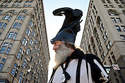 Vermin Supreme takes part in the NATO summit protests on Michigan Avenue in Chicago on May 21, 2012. Supreme is a recognizable and satirical figure in the Occupy movement who has run for various public offices on the platform of free ponies for all Americans.