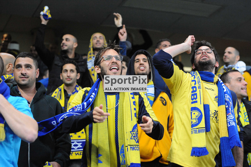 Maccabi Tell-Aviv fans before the Chelsea v Maccabi Tell-Aviv champions league match in the group stage.